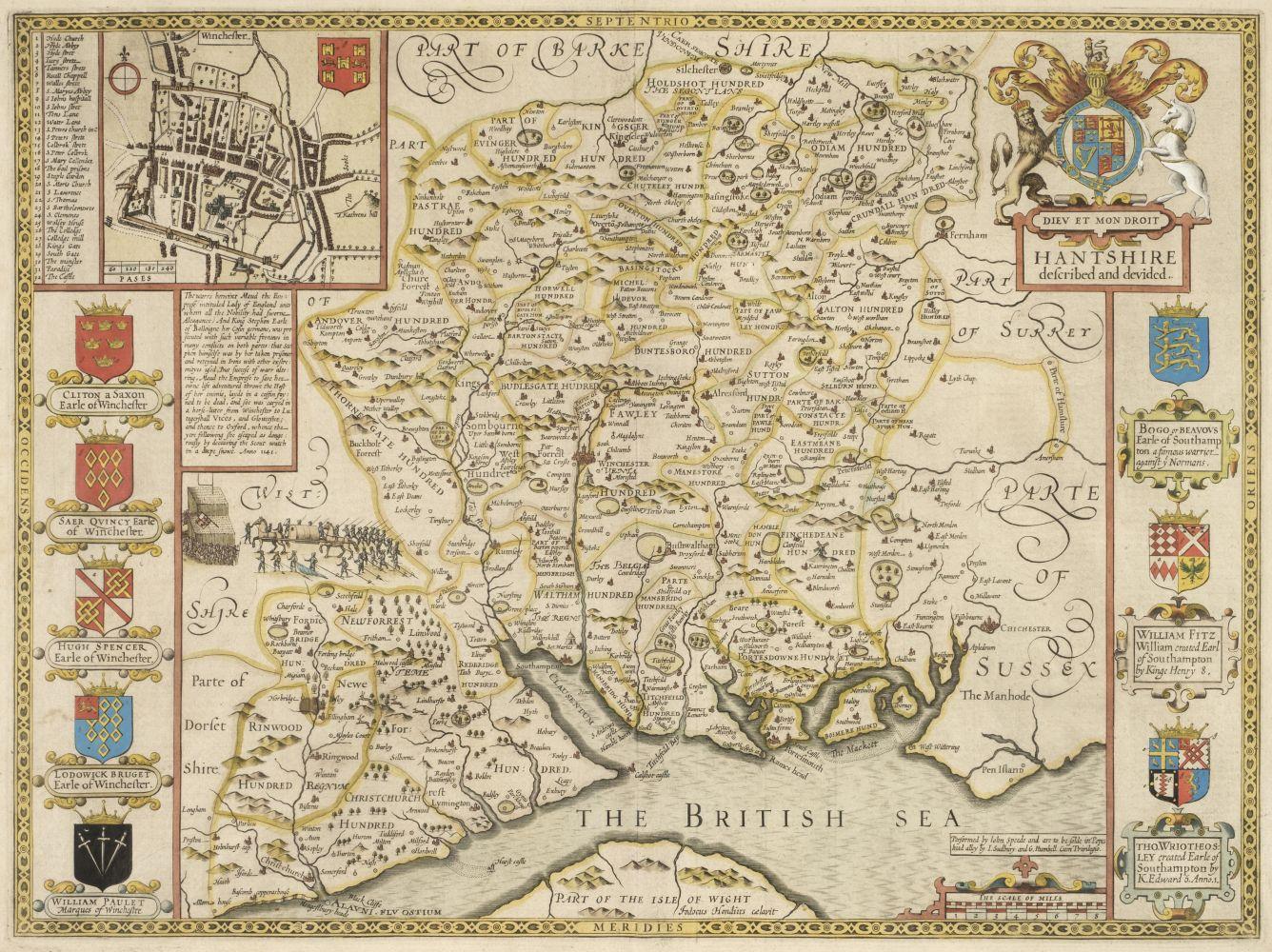 * Hampshire. Speed (John), Hantshire described and devided, circa 1627
