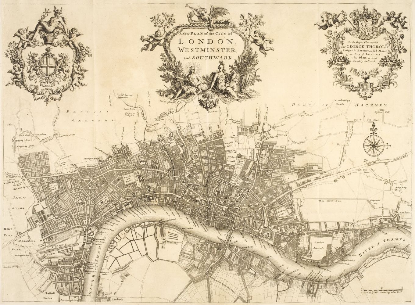 London. Strype (J.), A New Plan of the City of London, Westminster and Southwark, circa 1720