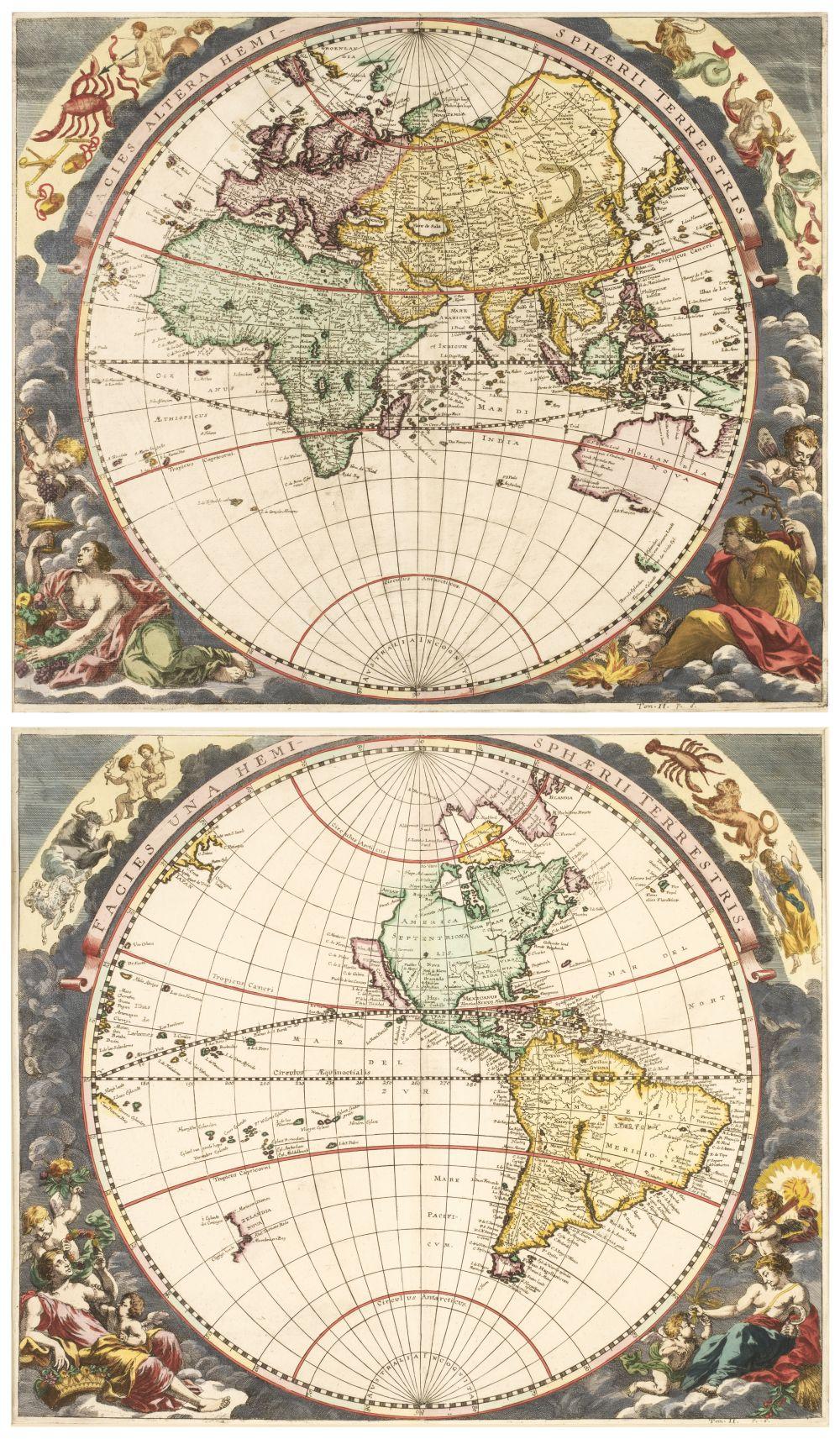 World. Zahn (J.), Two hemispheres, printed on separate sheets, circa 1696
