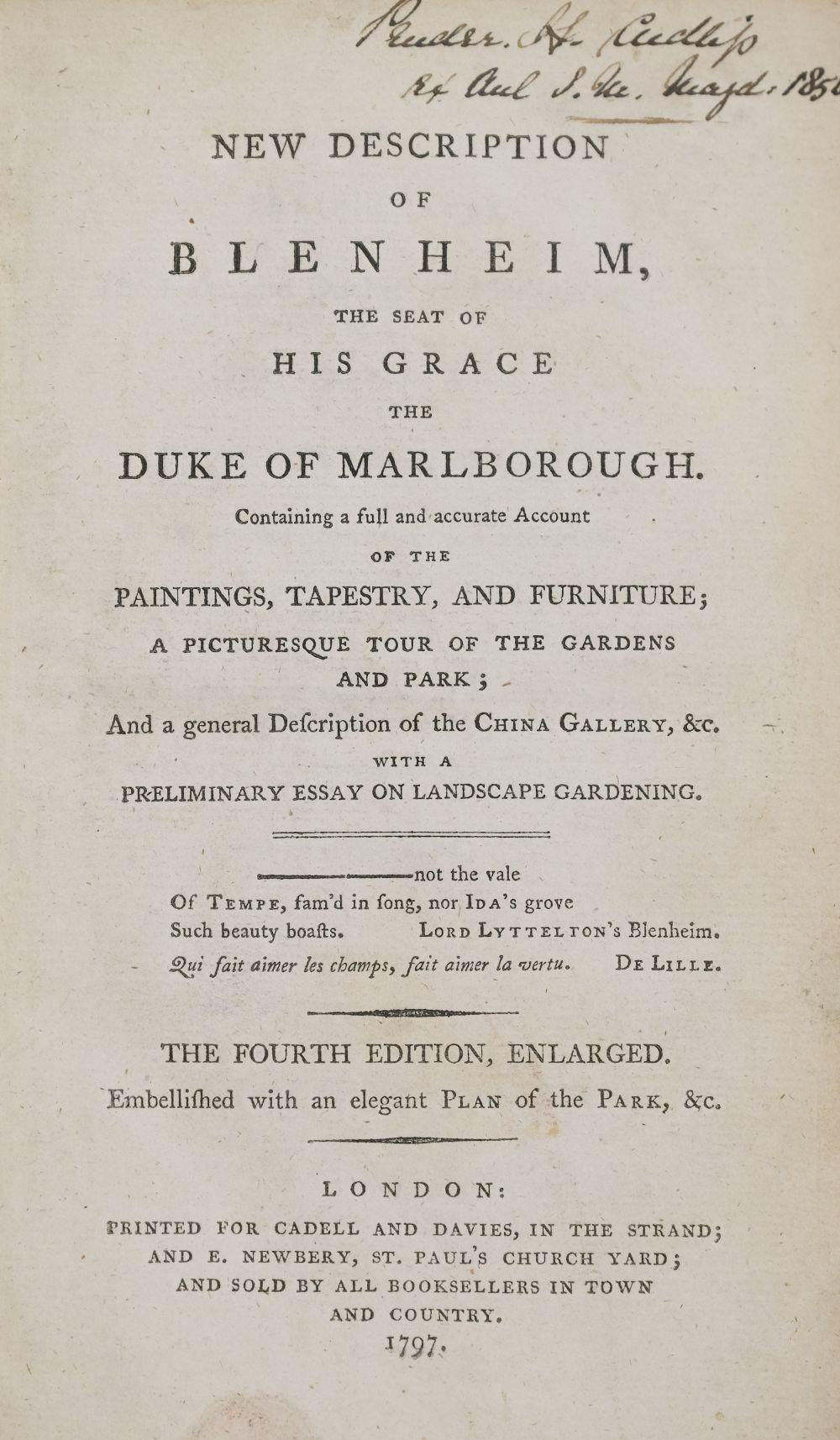 Mavor (William). New Description of Blenheim, the seat of His Grace the Duke of Marlborough, 1797