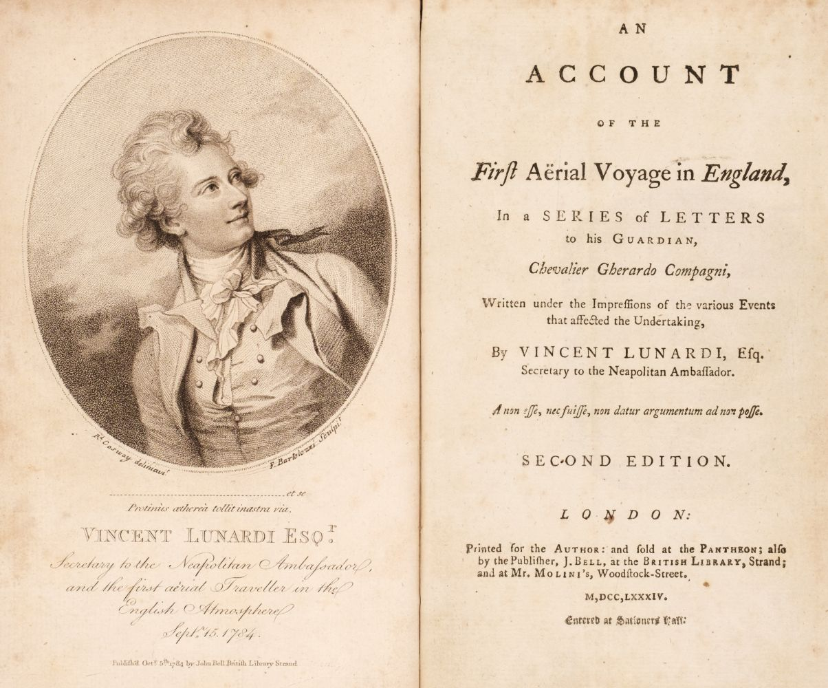 Lunardi (Vincenzo). An Account of the First Aerial Voyage in England,