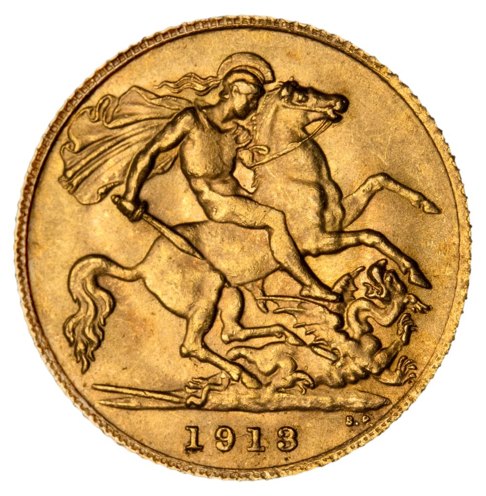 * Edward VII half gold Sovereign, 1913