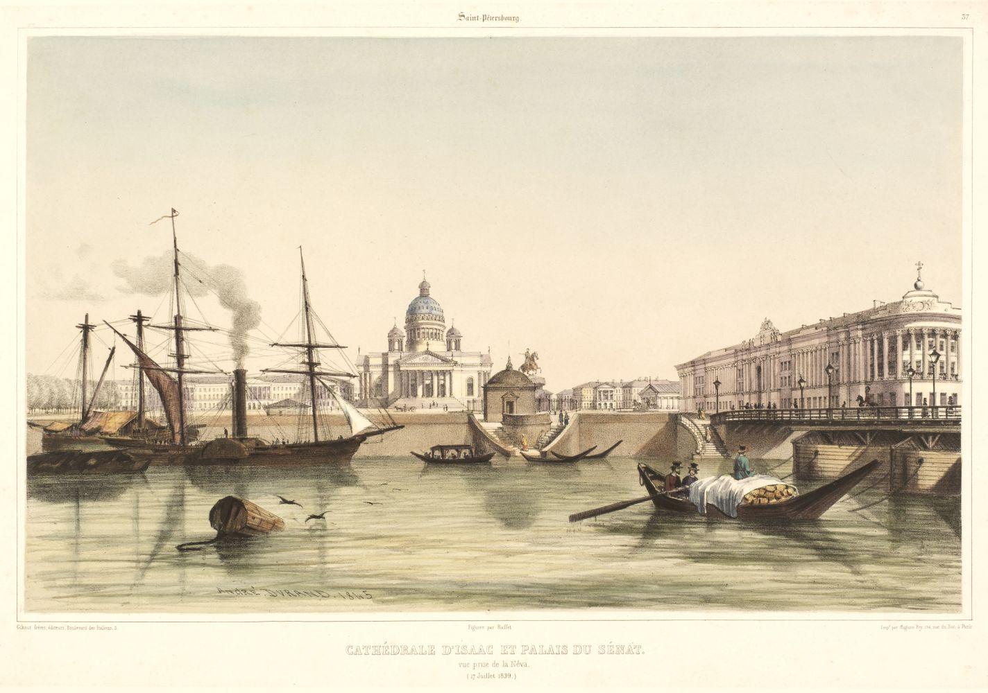 * St. Petersburg. Durand (Andre), Cathedrale D'Issac et Palais du Senat, circa 1845