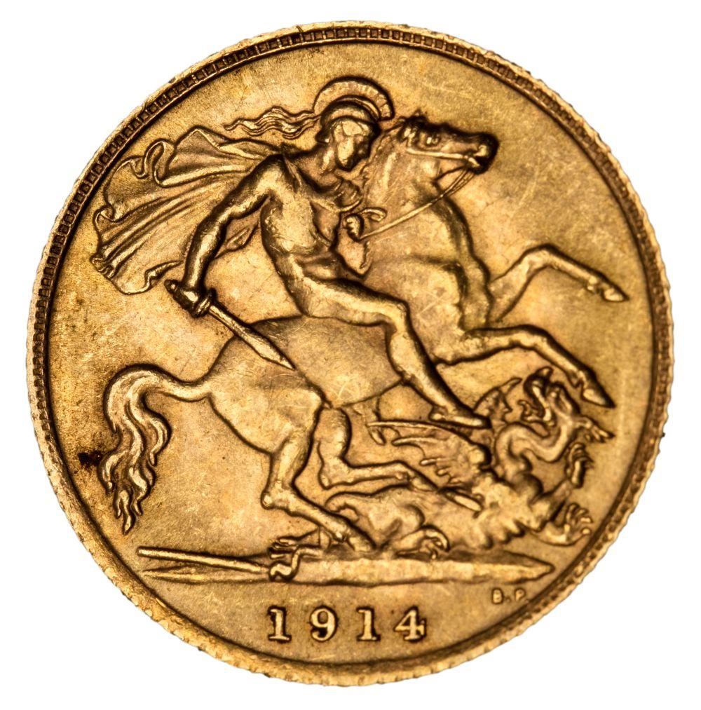 * Edward VII half gold Sovereign, 1914