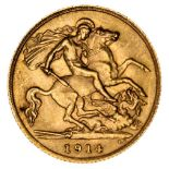 * Edward VII half gold Sovereign, 1914