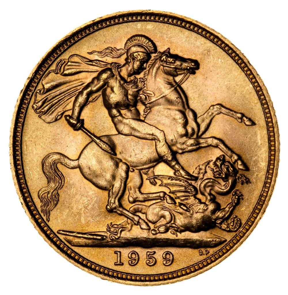 * Elizabeth II, full gold Sovereign, 1959