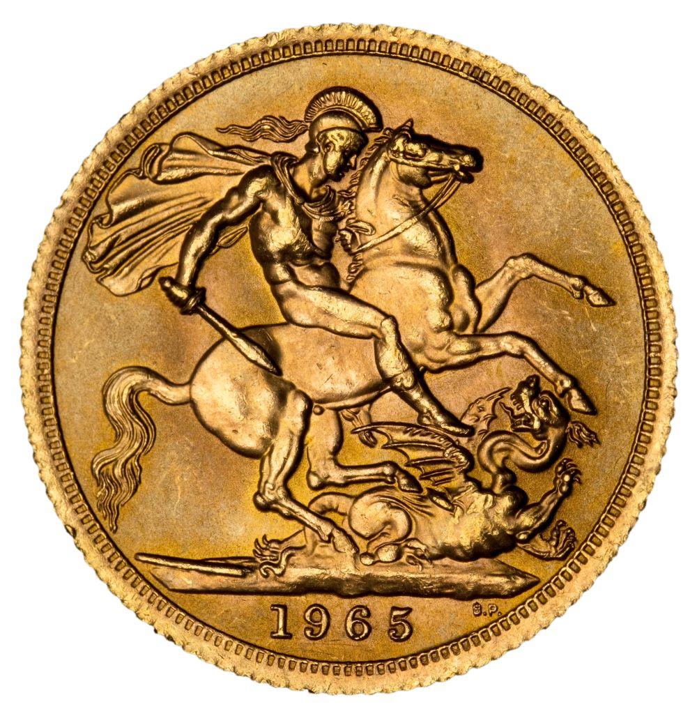 * Elizabeth II, full gold Sovereign, 1965