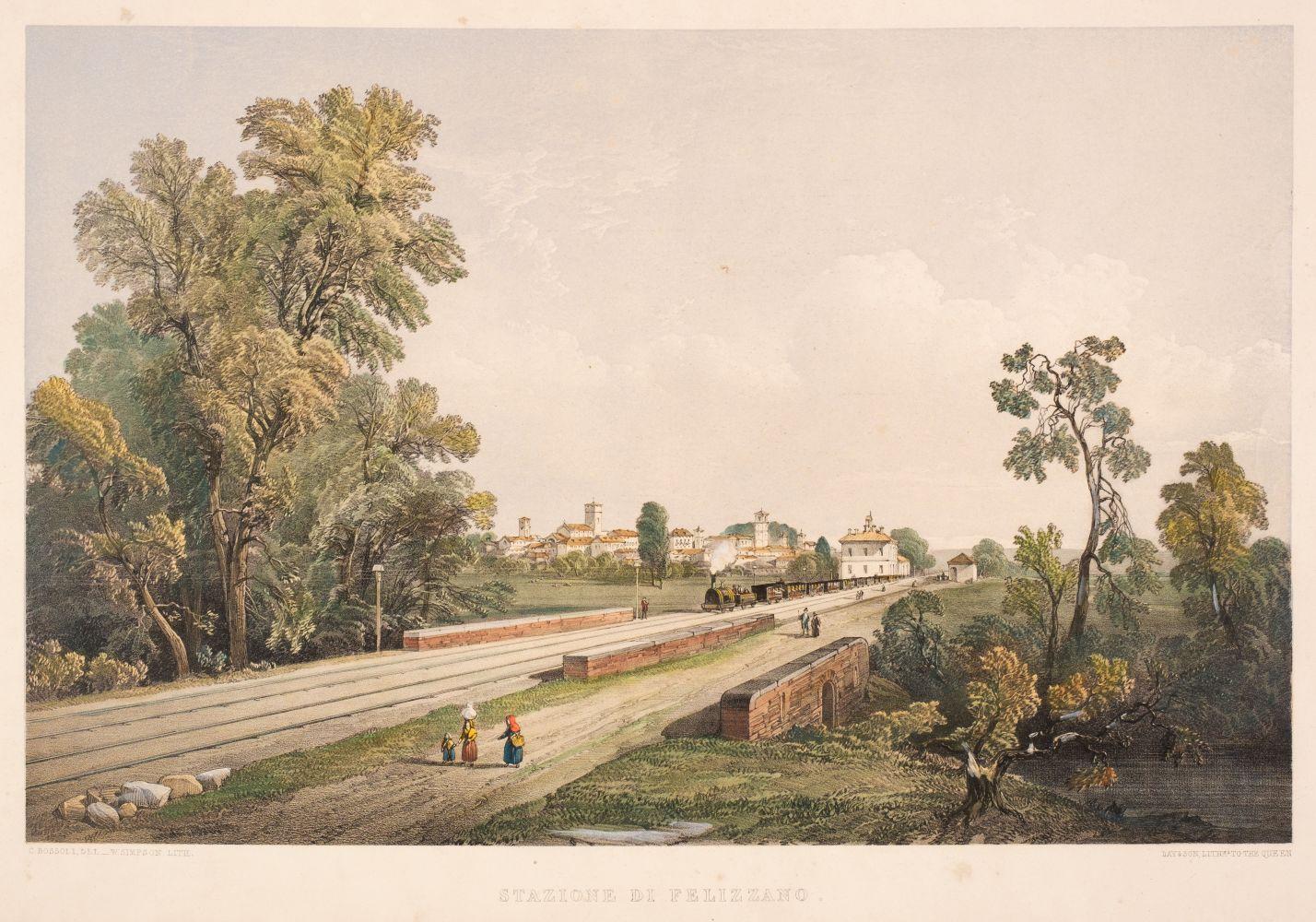 * Simpson (William ). Stazione di Fellizano, circa 1850, hand coloured lithographic view