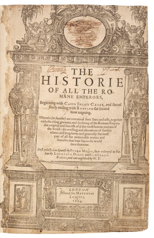 Mexia (Pedro). The Historie of all the Romane Emperors, beginning with Caius Iulius Cæsar, 1604