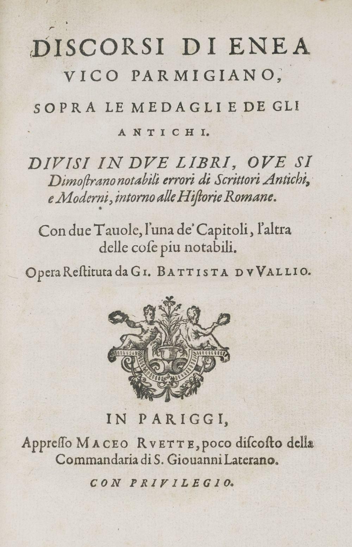 Vico (Aeneas). Discorsi di Enea Vico Parmigiano, 1619
