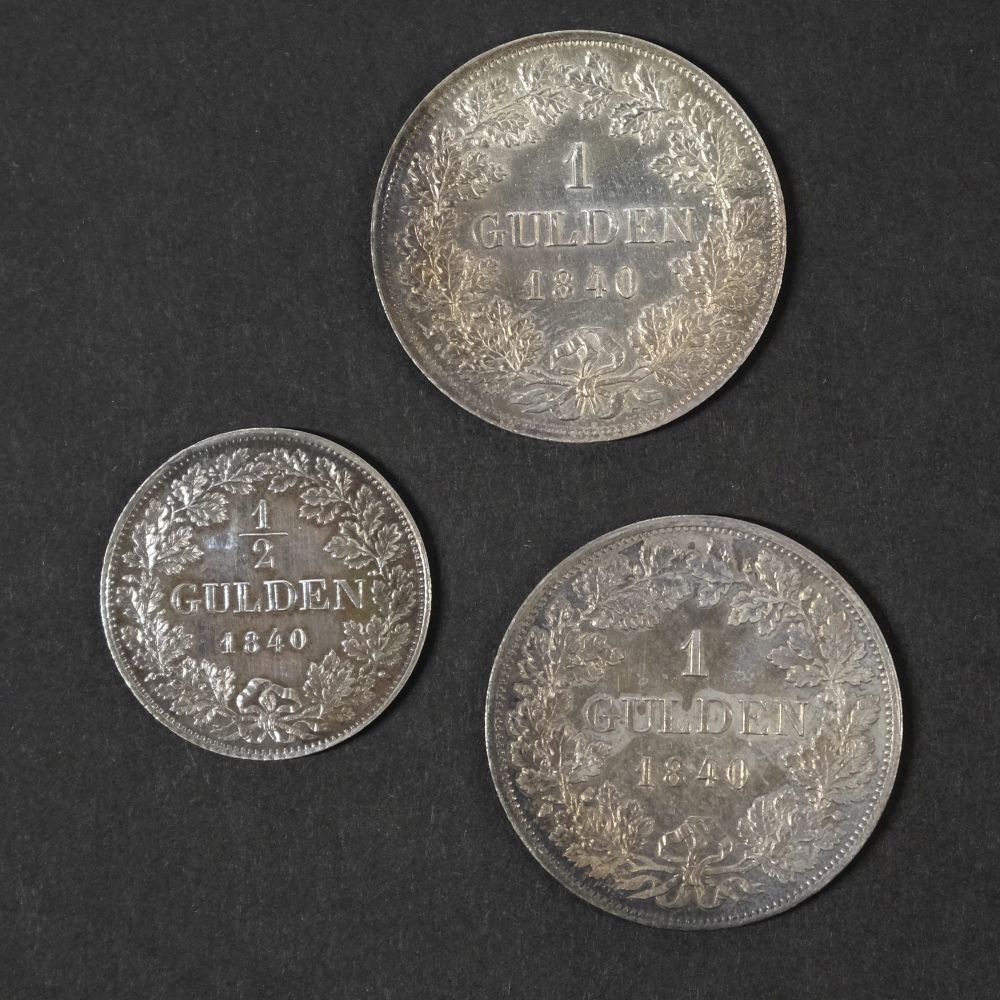 * Coins. Grand Duchy of Baden. Gulden and Half Gulden - Image 2 of 2