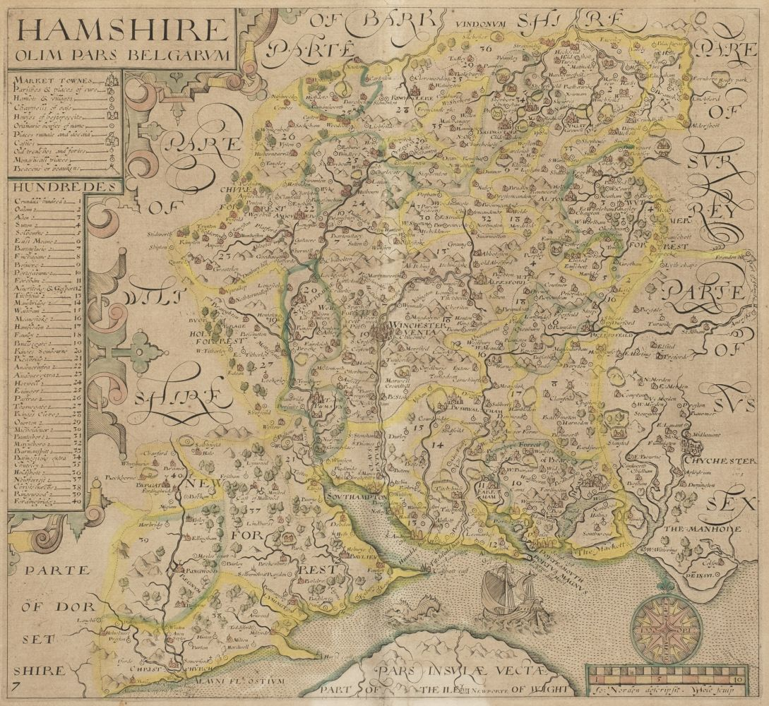 * Hampshire. Norden (J. & Hole G.), Hamshire olim pars Belgarum, circa 1637