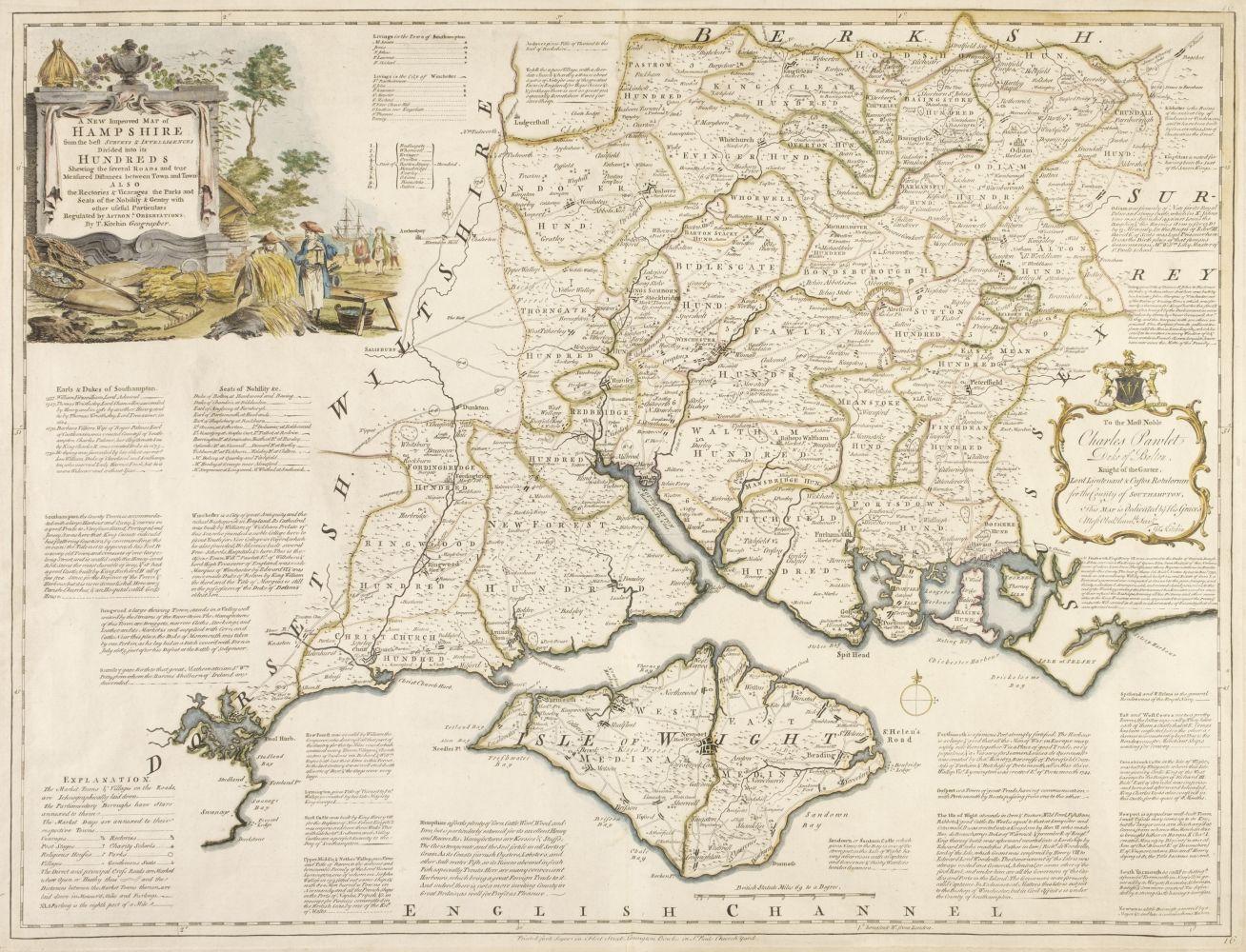* Hampshire. Kitchin (Thomas), A New Improved Map of Hampshire..., circa 1767