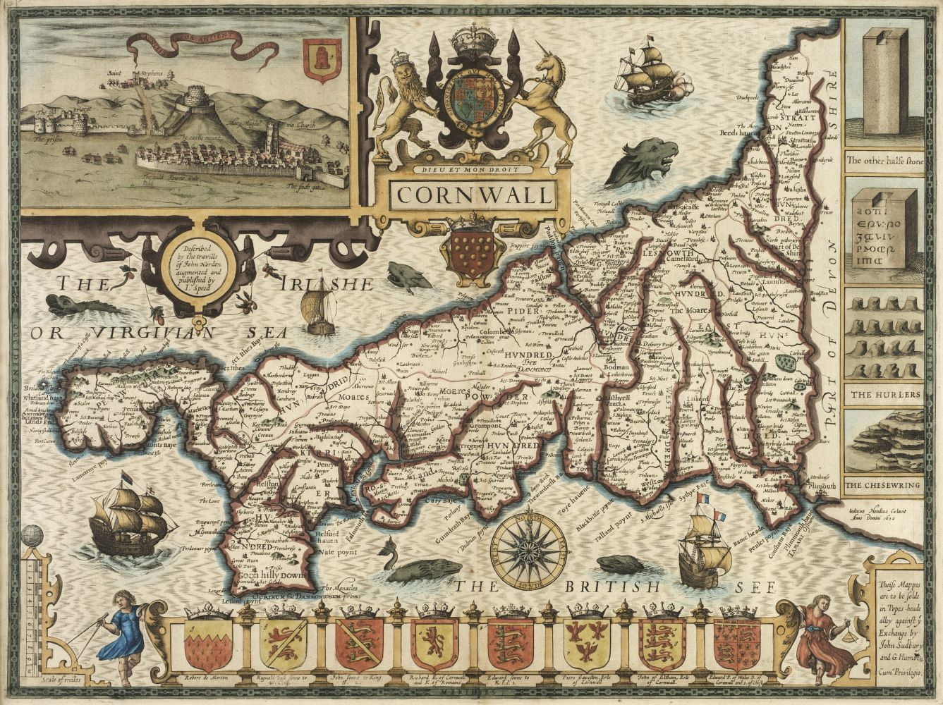 * Cornwall. Speed (John), Cornwall, John Sudbury & George Humble, circa 1627