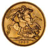 * Elizabeth II, full gold Sovereign, 1958