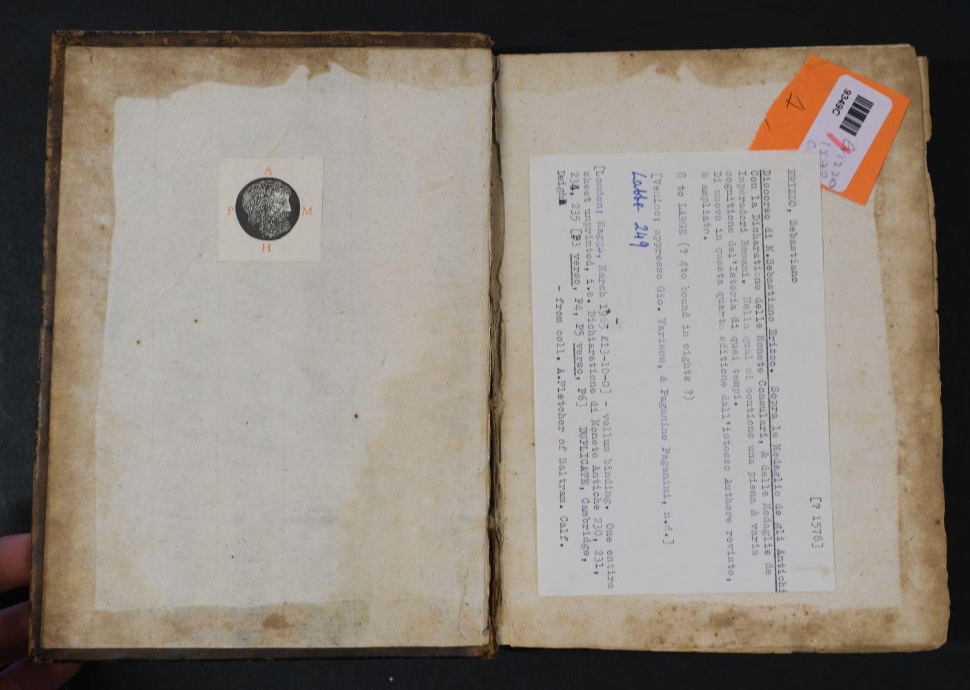 Erizzo (Sebastiano). Discorso sopra le medaglie, 4th edition, 1584, ex libris Fletcher of Saltoun - Image 5 of 11