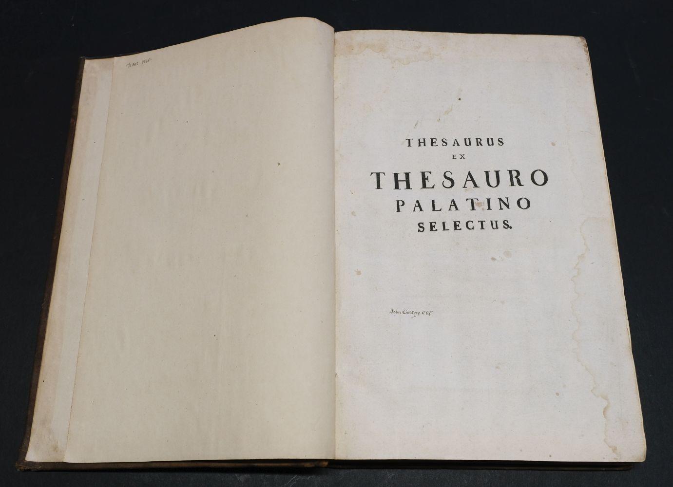 Beger (Lorenzo). Thesaurus ex Thesauro Palatino Selectus, 1685 - Image 5 of 9