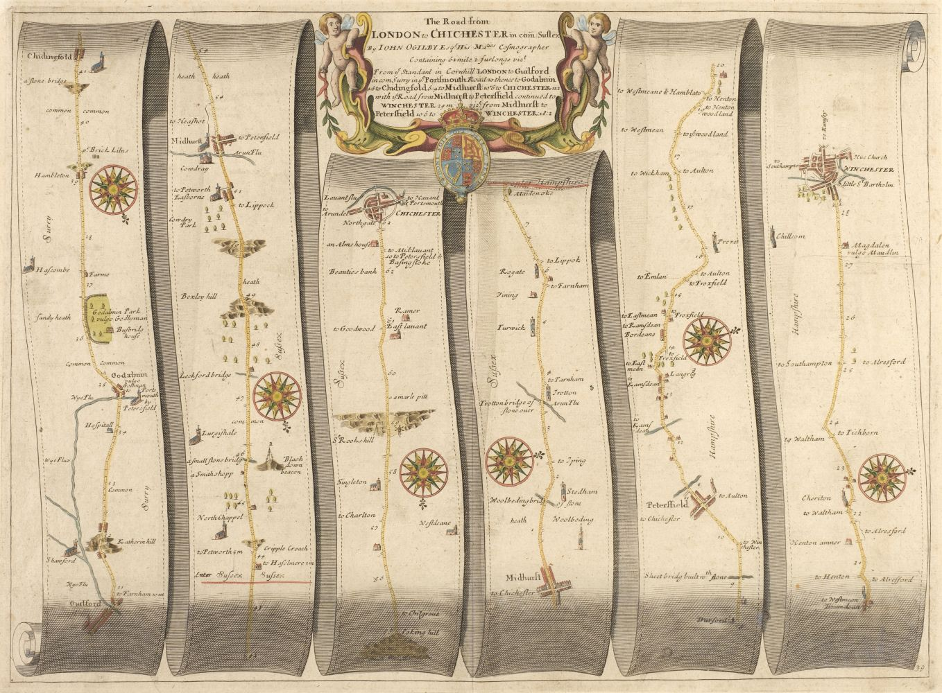 Ogilby (John). The Road from London to Chichester in com Sussex, circa 1675