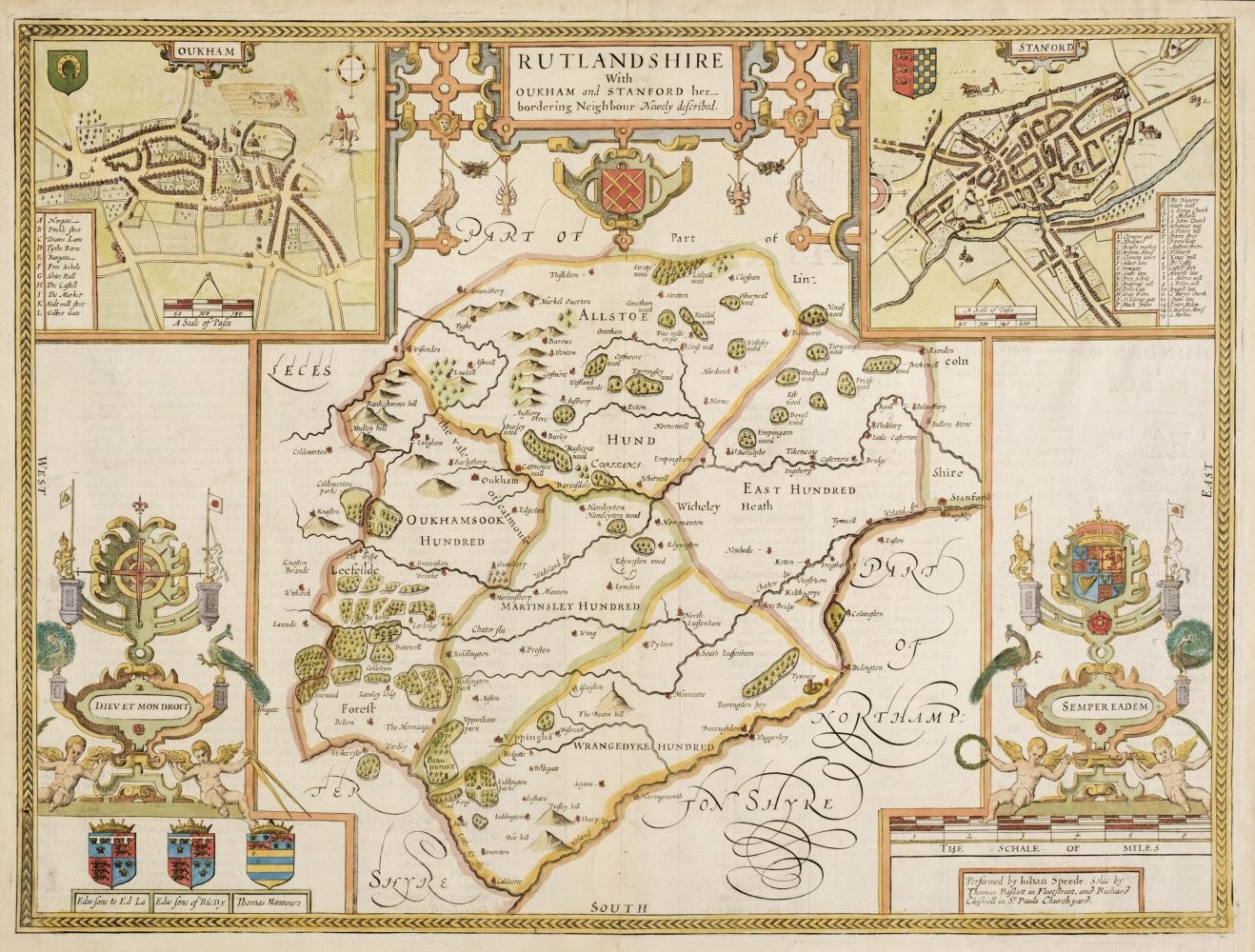 Rutland. Speed (John), Rutlandshire with Oukham and Stanford..., 1676
