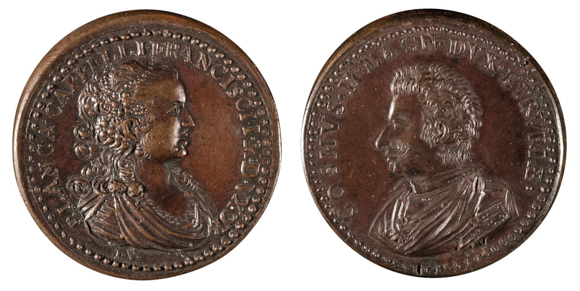 * Medals. Cosimo De Medici (1590-1621) and Bianca Capello (1548-87). Bronze Medals by Weber
