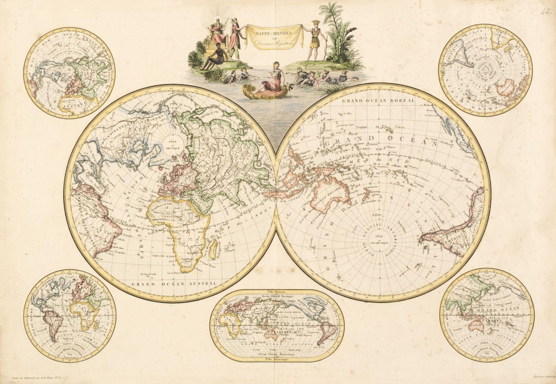 World. Chamouin (J. B. M.), Mappe-Mondes sur Diverses Projections, circa 1815