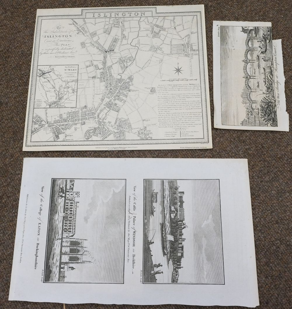 London. A mixed collection of 25 maps, plans and views, 18th - 20th century - Image 10 of 11
