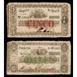 * Banknotes. Brazil, Cinco & Dois 1833