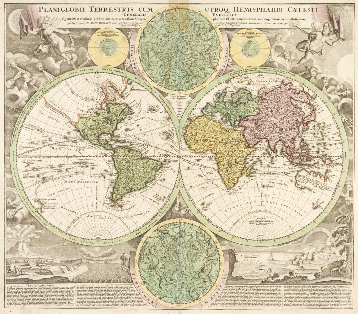 World. Homann (J. B.), Planiglobii Terrestris cum utroq hemisphaerio...., circa 1720