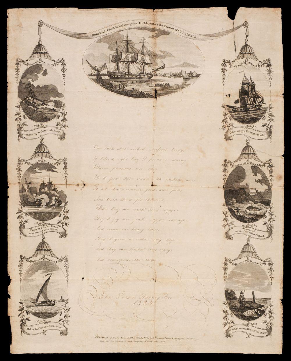 Robinson Crusoe. A printed broadside, 1793