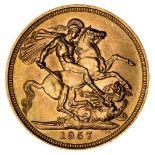 * Elizabeth II, full gold Sovereign, 1957