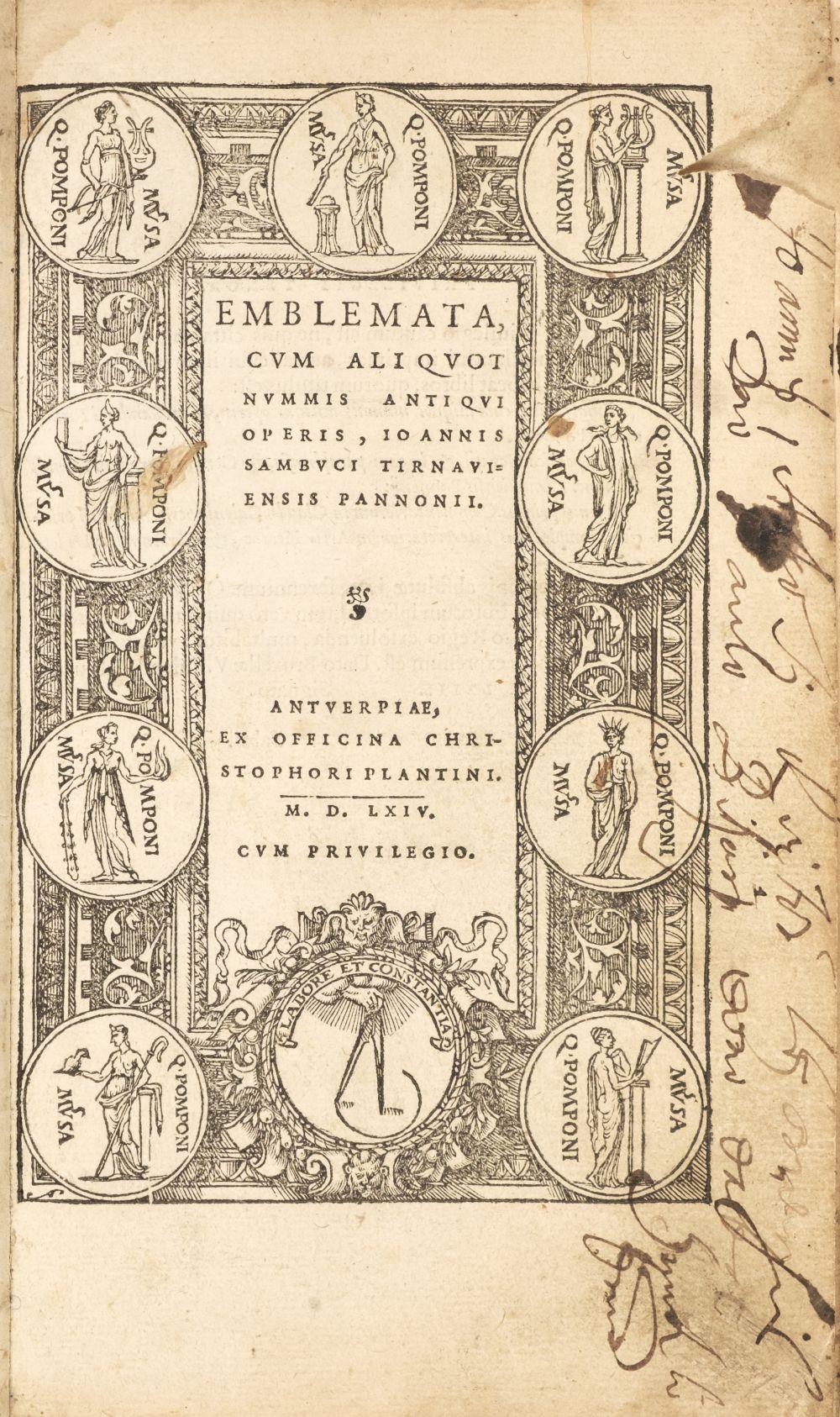 Sambucus (Joannes). Emblemata, Antwerp: Christopher Plantin, 1564