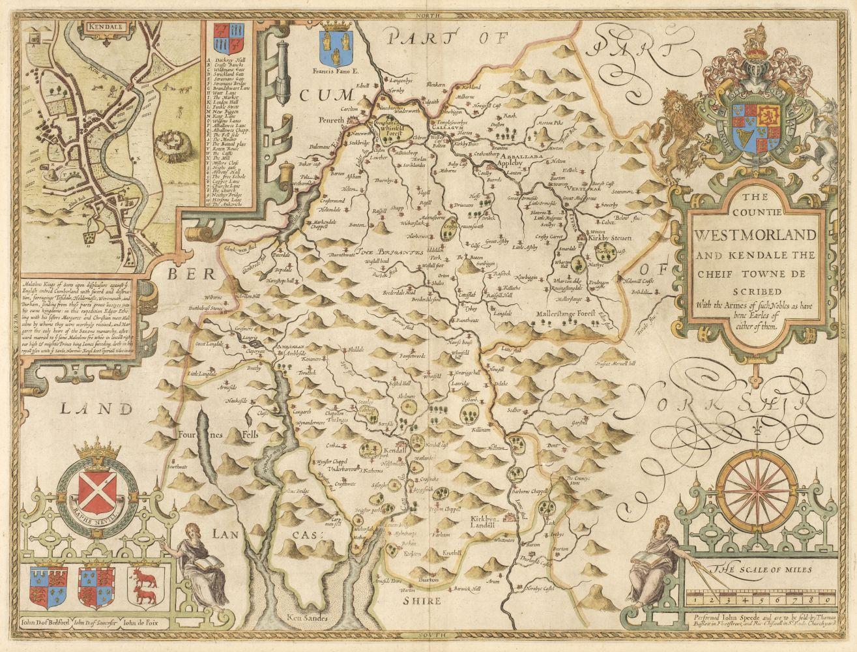 Westmorland. Speed (John), The Countie Westmorland and Kendale..., 1676