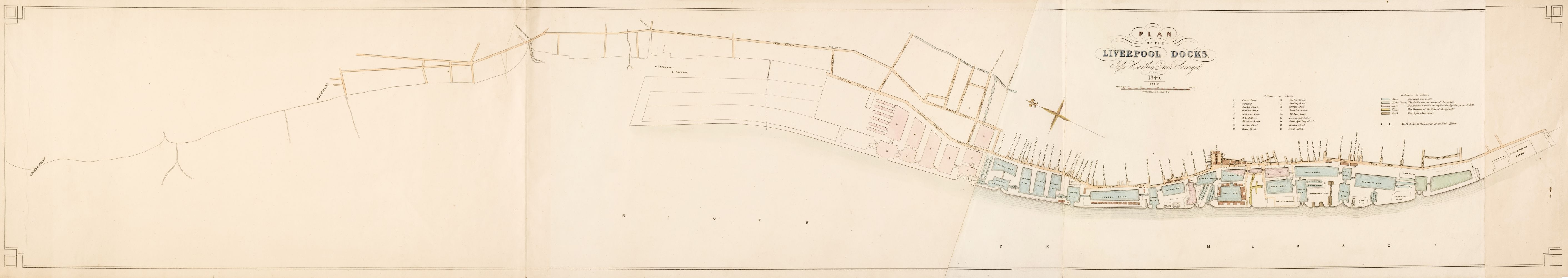 Hartley (Jesse). Plan of the Liverpool Docks, J. W. Allen, lithographer, 1846