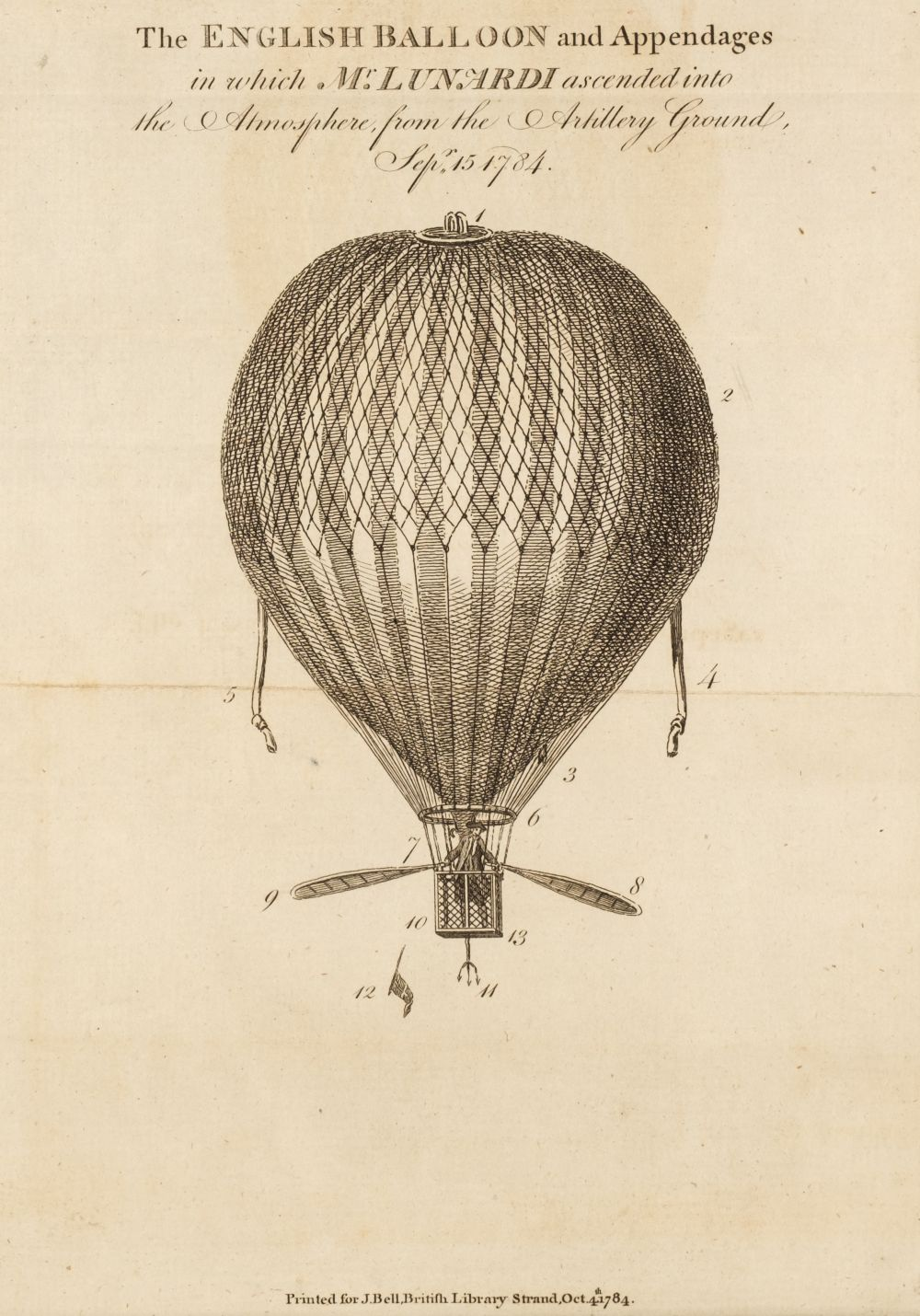 Lunardi (Vincenzo). An Account of the First Aerial Voyage in England, - Image 2 of 4