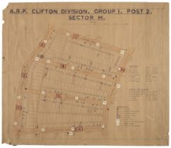 * WWII Air Raid Precaution (ARP) - Clifton Division, Bristol. WWII map of streets