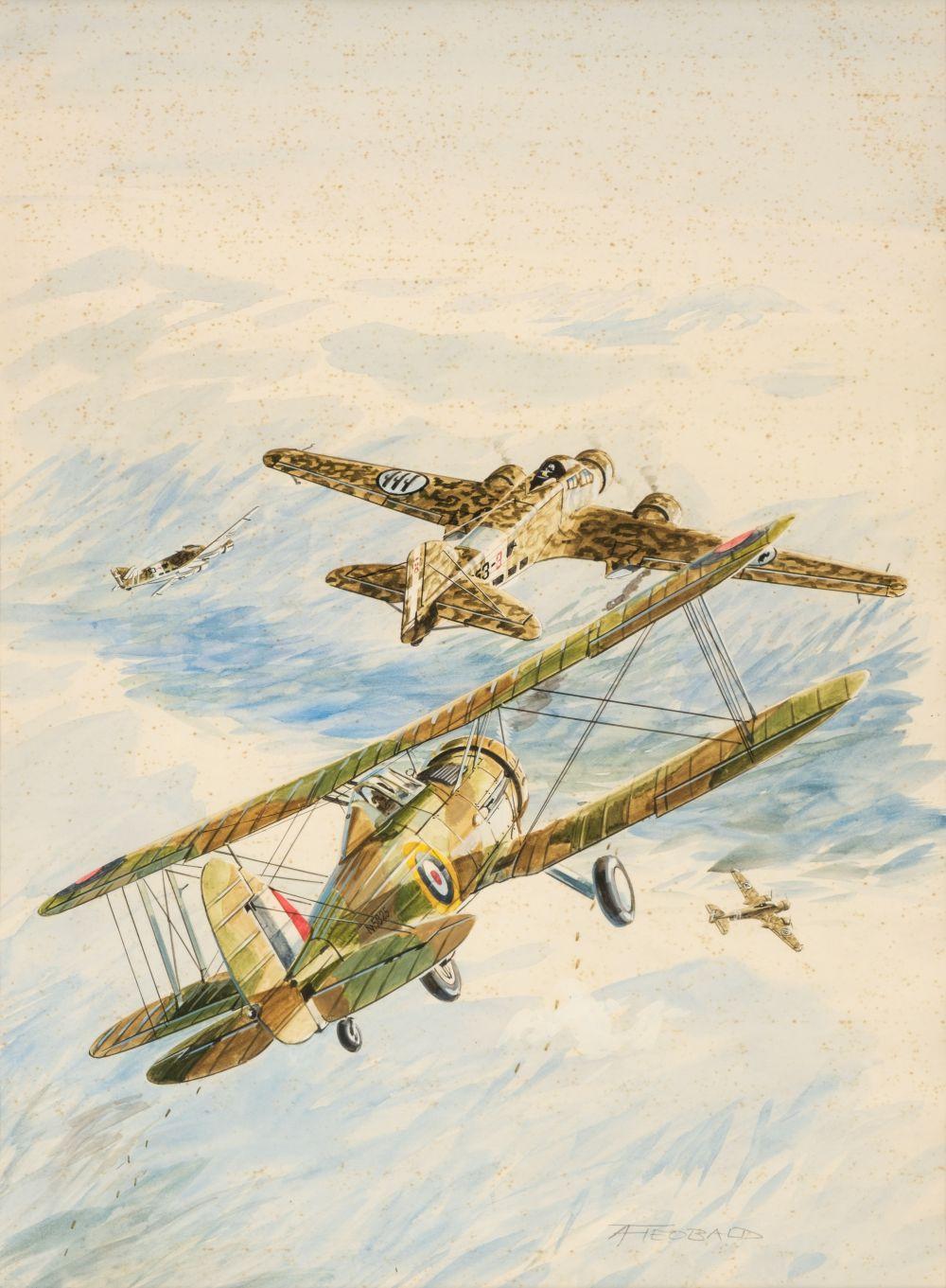 * Theobald (Tony, late 20th century). Aviation watercolour