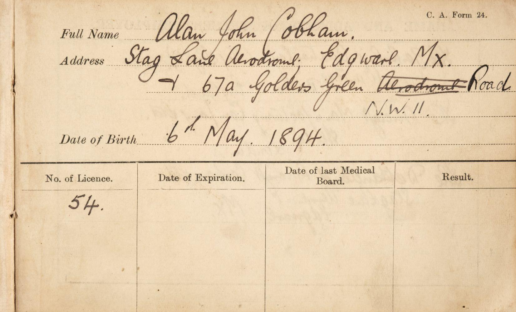 * Sir Alan Cobham. Pilot's logbook kept by Sir Alan Cobham