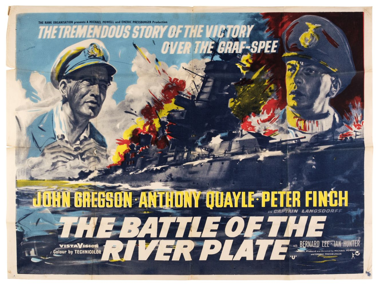 * The Battle of River Plate (1956). British Quad colour lithographic re-release film poster, c. 1960