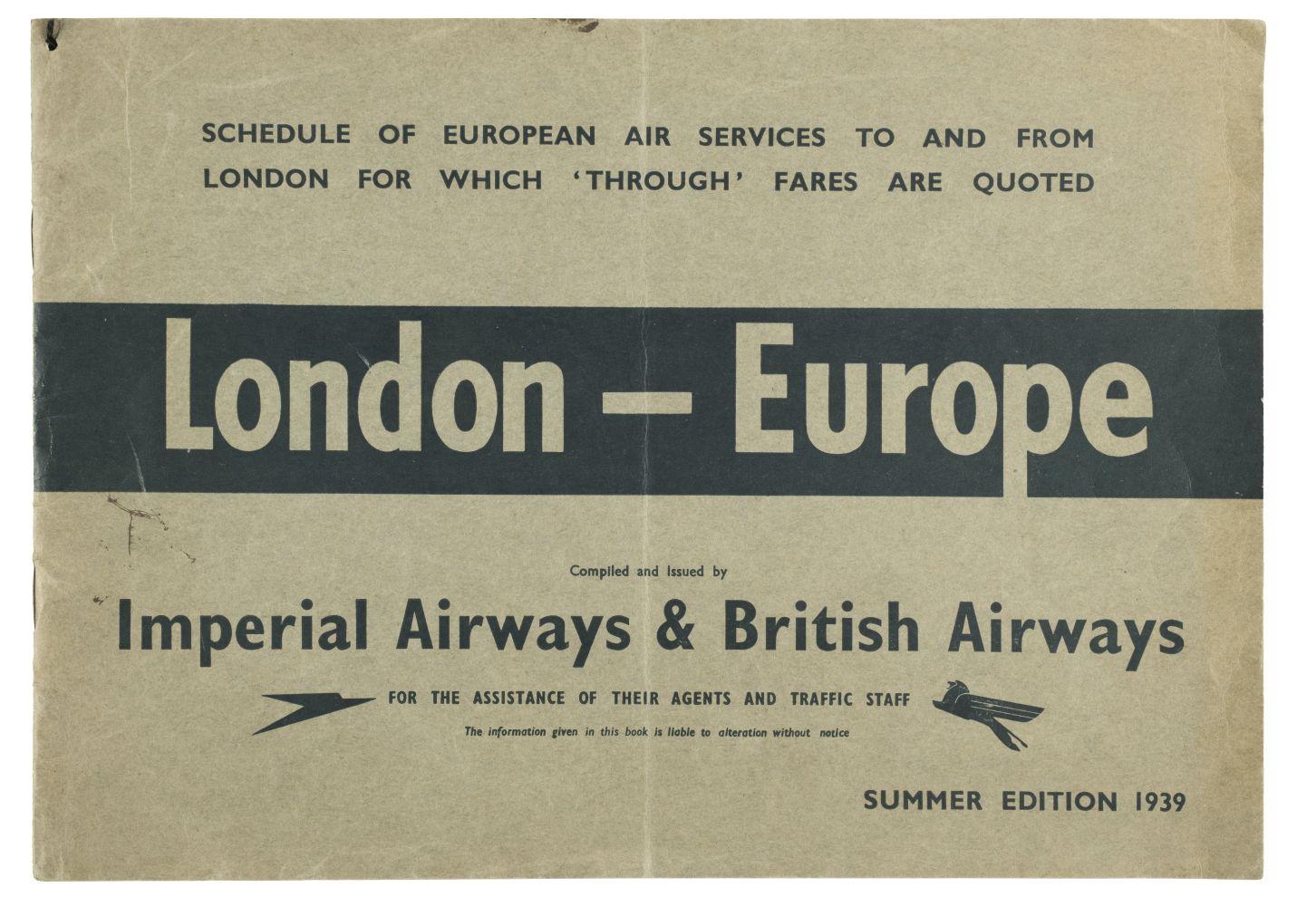 * Imperial Airways. Timetable, 1939