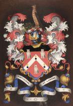 * Heraldry. Eight heraldic paintings of armorial bearings, 19th & 20th century