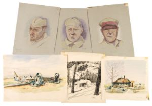 * POW Sketches. A collection of WWII German sketches, Russian POWs etc
