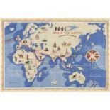 * BOAC. World Air Routes Western / Eastern Hemisphere