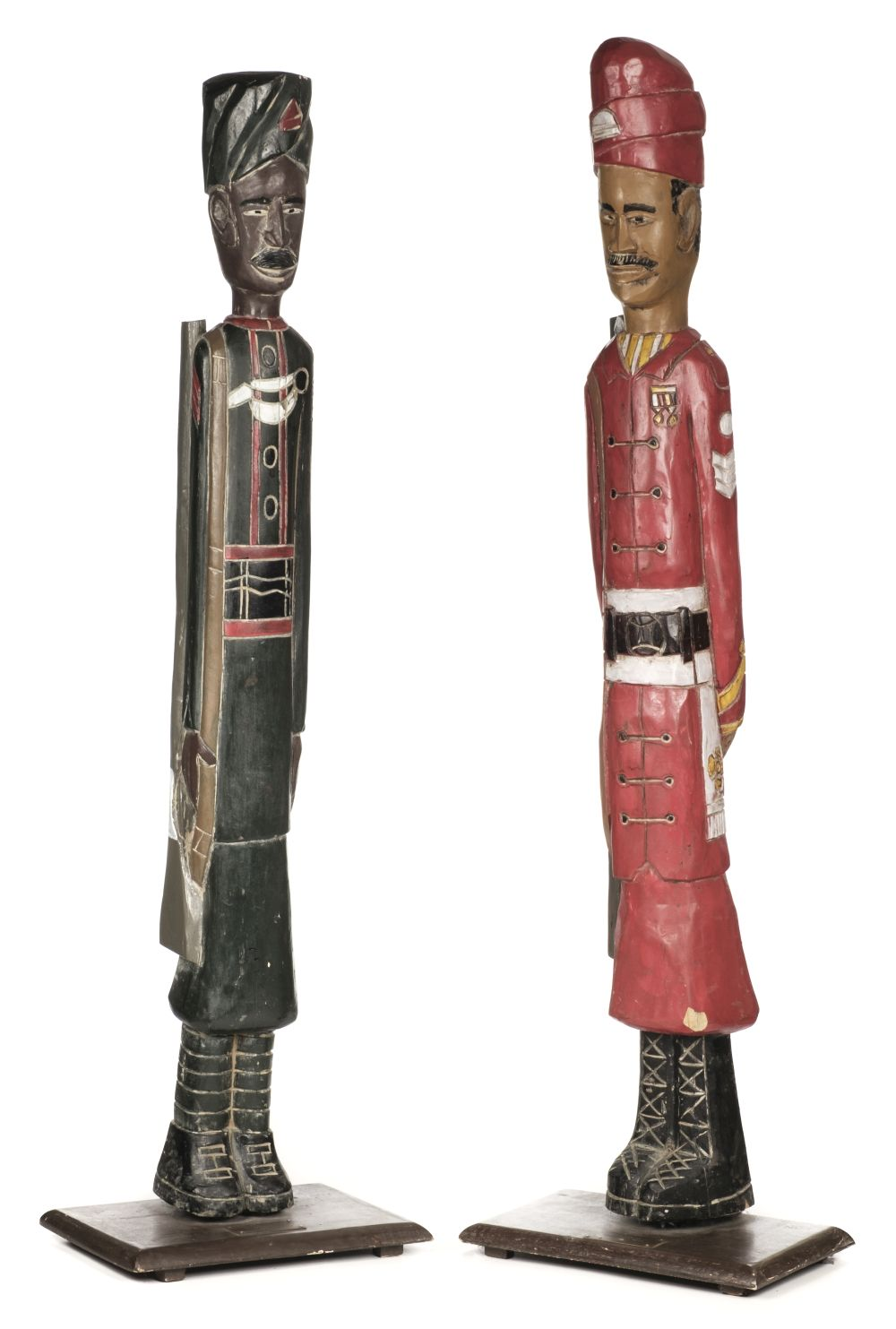 * Indian Soldier Carved Wood Figures