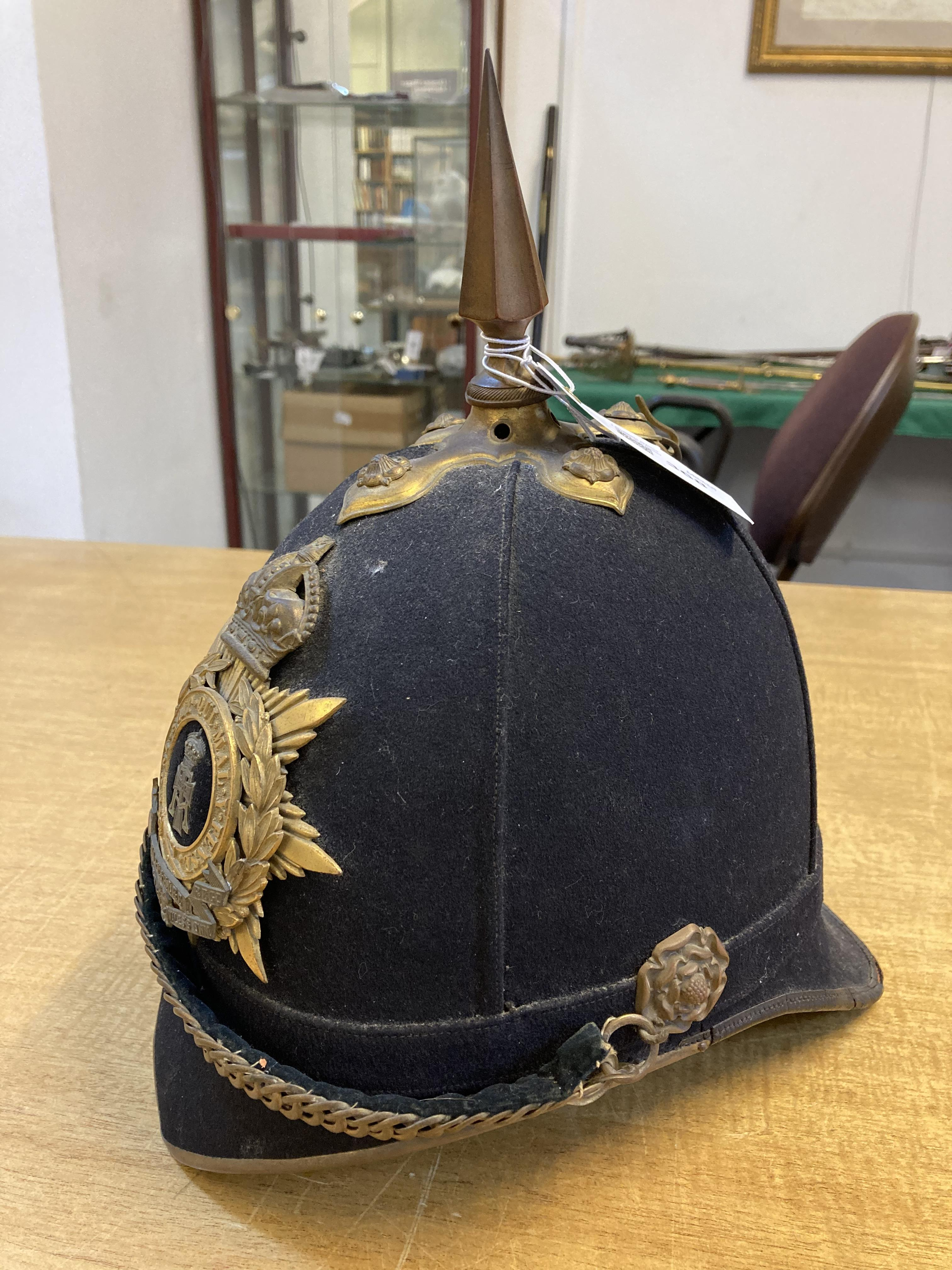 * Helmet. Green Howards blue cloth helmet. - Image 2 of 6