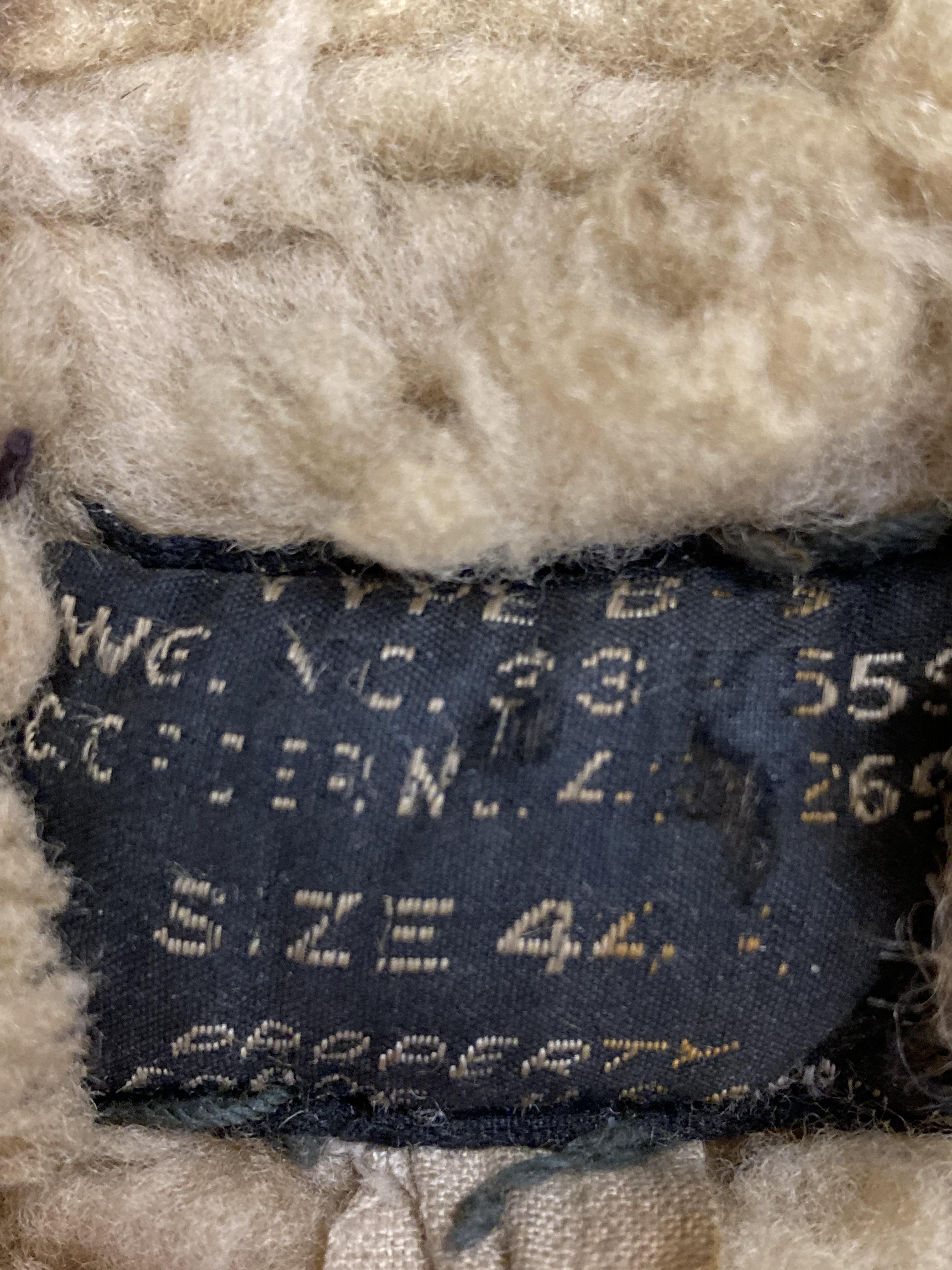* Flying Jacket. WWII USAAF brown leather flying jacket - Image 3 of 3