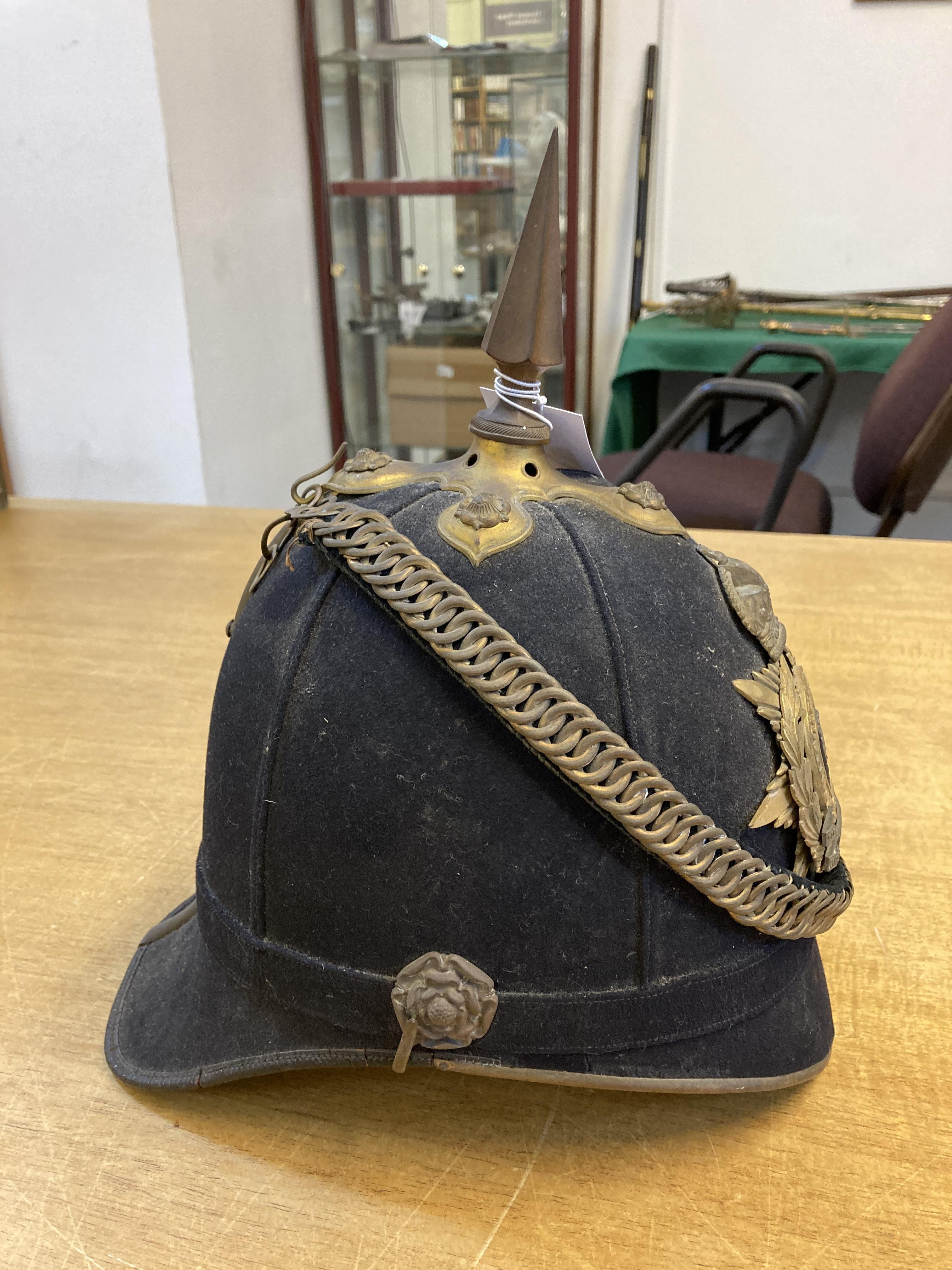 * Helmet. Green Howards blue cloth helmet. - Image 4 of 6