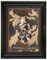 * Heraldry. An armorial panel of Major F.P.R. Nichols M.C. R.A.S.C., early 20th century