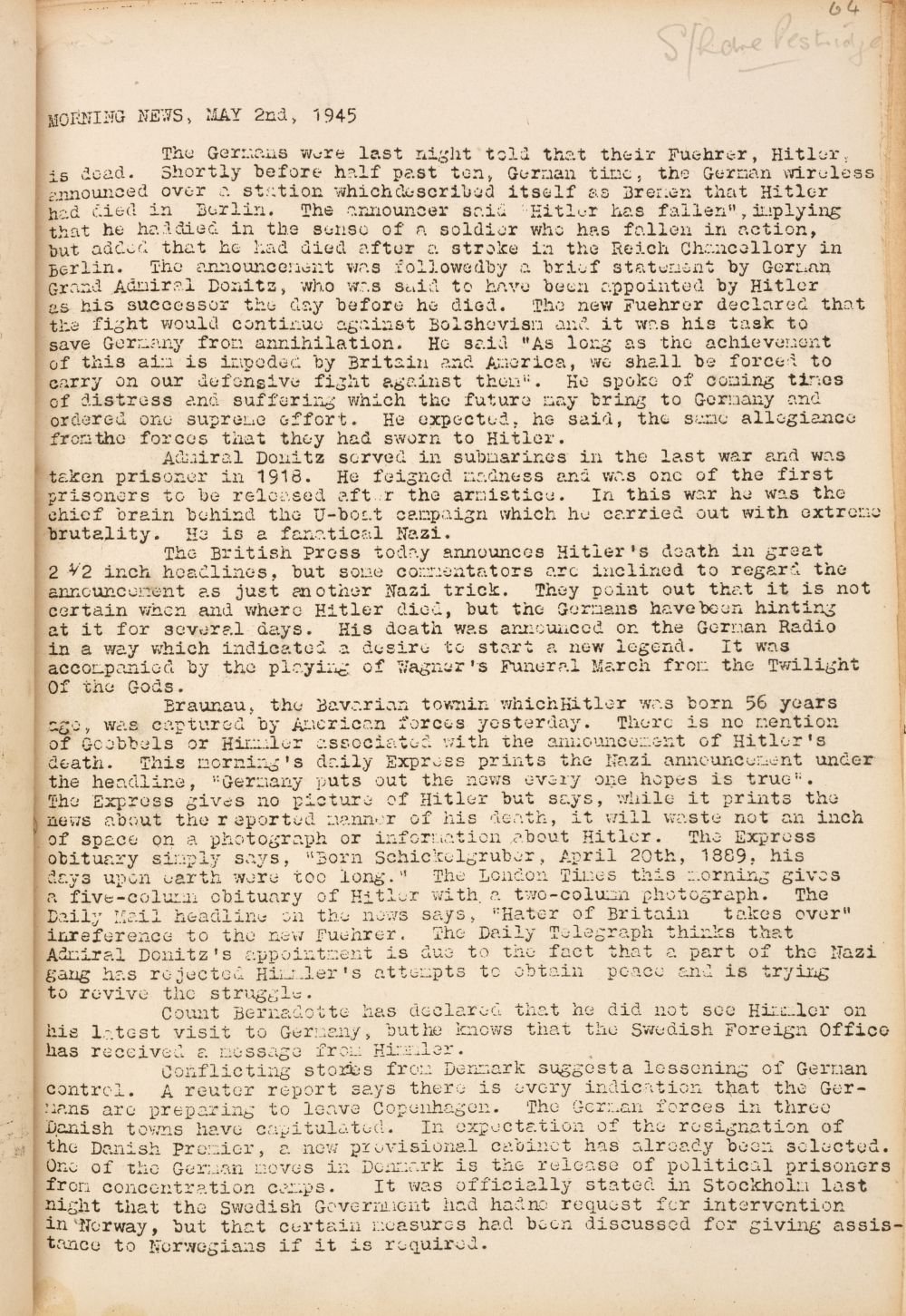 * Stalag III-A. Camp News Service of Stalag III-A at Luckenwalder, 25 April to 19 May 1945