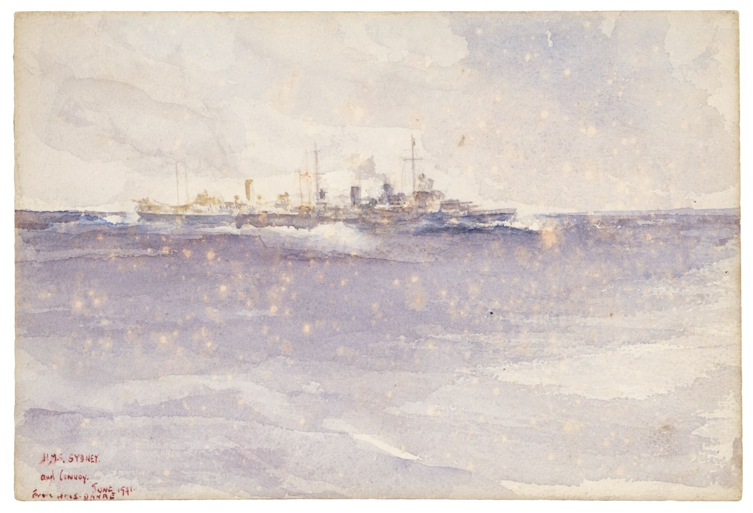 "* Russell Flint (Francis, 1915-1977) – ""HMS Sydney & Convoy"" 1941"