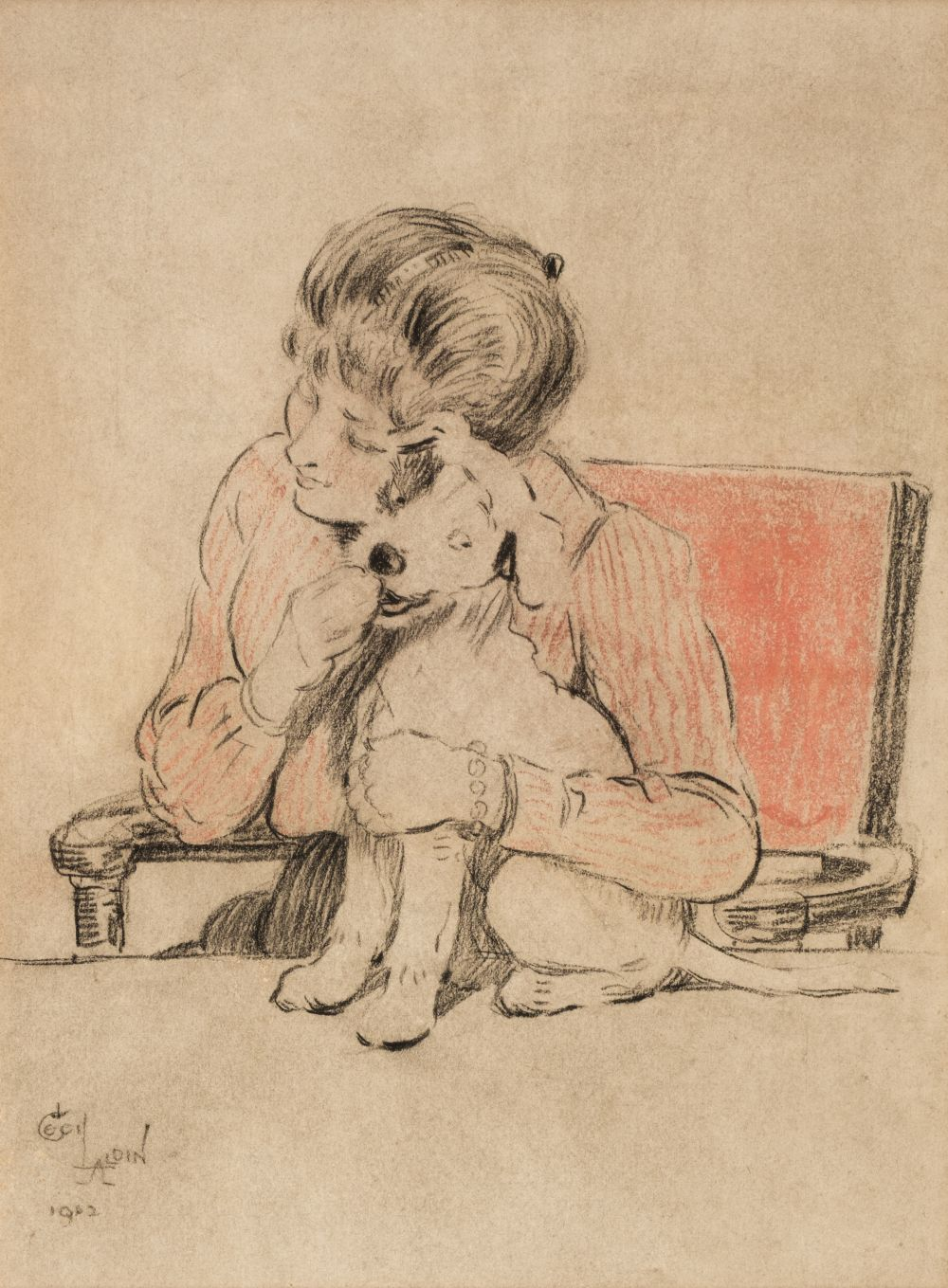 * Aldin (Cecil Charles Windsor, 1870 - 1935). Young Lady cuddling a Terrier, 1902